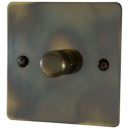G&H FAN15 Flat Plate Polished Aged Brass 1 Gang 1 or 2 Way 700W Dimmer Switch Single Plate
